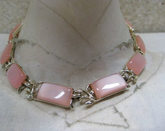 Pink Gold Thermoset Necklace Choker Vintage Plastic