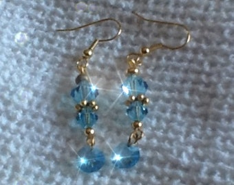 SKY BLUE  Swarovski Crystal Dangle Earrings Free Shipping