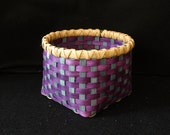 Hand Woven Basket in Purple and Light Turquoise.  Storage Basket. Hand made baskets in fun colors!