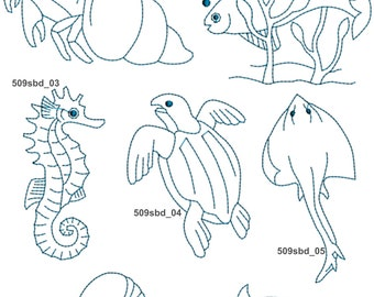 Sea Creatures Machine Embroidery Designs 509sbd