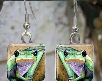 Handmade Art Glass Earrings Pendant Frog 5 from art painting by L.Dumas