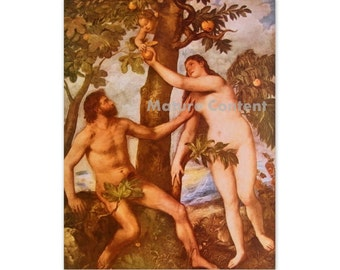 The Fall of Man, by Titian - a Frameable Vintage 1955 Art Print
