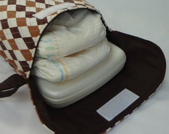Diaper Wristlet in Riley Blake Hooty Hoot Brown Argyle (see shop annc. for free shipping offer)