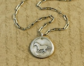 Precious Metal Clay, Fine Silver Wax Seal Style Horse Charm, Pendant, Necklace, choose length of chain, add on, long box cable chain