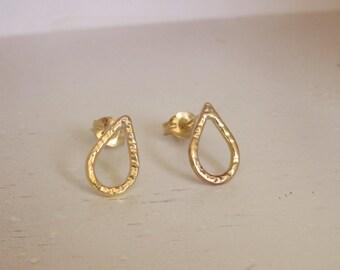 Sweet modern 14kt gold-filled small dainty teardrop post earrings handmade by Norita Designs