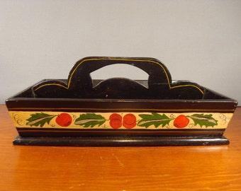 Beautiful black and tole painted vintage divided wood tool caddy with handle