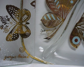 2 Georges Briard Gold Butterfly Glass Dishes - Square Tray and Relish Dish