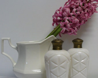 Mid Century Milk Glass Salt and Pepper Shakers