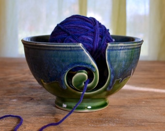 Yarn bowl ceramic, knitting crochet porcelain, glazed in green blue,  handmade by hughes pottery