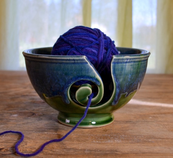 Crochet Yarn Bowl : Yarn bowl ceramic, knitting crochet porcelain, glazed in green blue ...