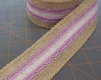 Ivory Burlap and Orchid Lace on Natural Burlap ribbon - 2 inch x 3 yards