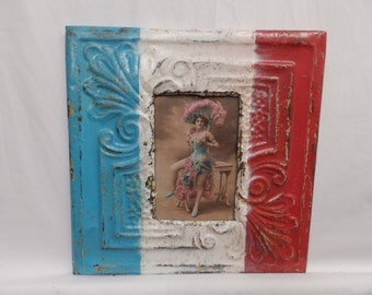 AUTHENTIC Tin Ceiling 4 X 6 Shabby Chic Picture Frame Reclaimed Photo S2125-14