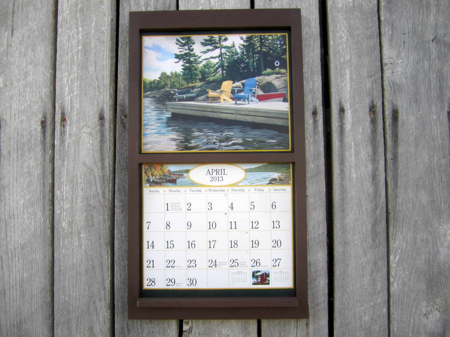Calendar Wooden Frame : Wood calendar frame holder in by sugarshackshoppe