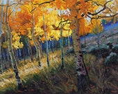 RESERVED for Yvonne Griffin Uphill Grove  24x36 Original Oil Painting Impressionism Fall Autumn Aspens Birch trees by Carl Bork