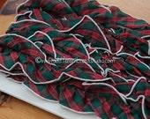 Plaid Ruffle  - 3 yards Vintage Fabric Scalloped Trim New Old Stock Doll Making Holiday Tartan Red Green