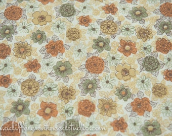 Adorable Fall Floral - Vintage Fabric New Old Stock Juvenile 50s 36 in wide Gold Orange Green