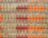 Zimbabwean hand printed and hand dyed batik - fat quarter of natural Small Zigzag