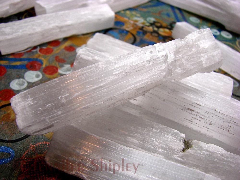 Gypsum Satin Spar ~ Raw selenite gypsum satin spar crystal stick spear for