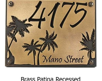 Palm Tree Custom Address Plaque Home Numbers or Welcome and Name Sign Tropical Islands 12x9 inches