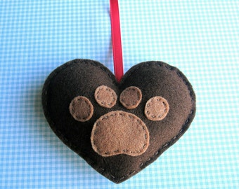 SUPER CUTE PROMO : Puppy Love - Paw Print Love Heart - chocolate brown