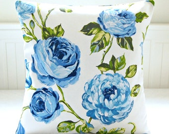 cushion cover large blue roses, green leaves floral, 18 inch decorative pillow cover