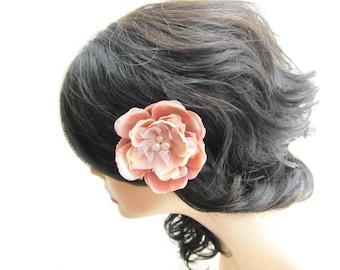 Flower hair clip, pink peach and cream flower, bridesmaid hair accessory