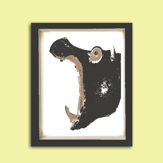 Hippo -  Kids Art Prints, hippopotamus, nursery hippo, hippo art, nursery decorating ideas, nursery hippo. hippopotamus art