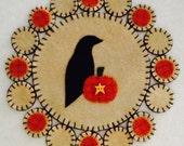 Crow and Pumpkin Fall Penny Rug