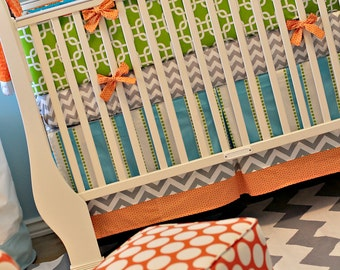 Aqua, Lime and Orange Crib Baby Bedding Boy Gender Neutral Ready to Ship - The Braxton Collection