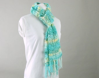 Aqua and Yellow Scarf - Hand Knit Wool and Bamboo Thick and Thin Lace Scarf for Woman
