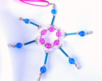 Pink, Turquoise and Blue Beaded Christmas Holiday Ornament