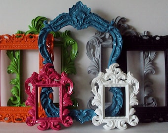 Choose Your Colors Garden Party Colorful Wall Art Ornate Picture Frames COLOR VARIETY 7 Open Frames Wall Gallery Frames Kitsch Home Decor