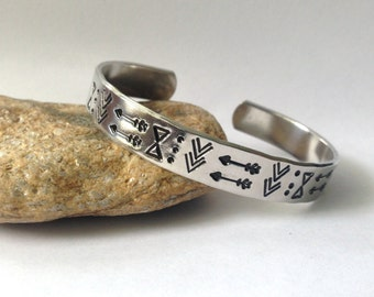 Tribal Stamped Bracelet, Stamped Cuff, Arrows, Chevron, Tribal Stamped Cuff