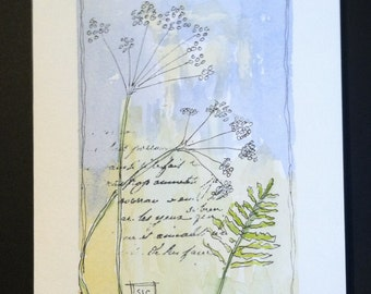 Watercolor Floral Blowing in the Wind Card