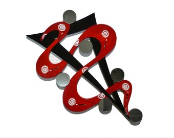 Twisted Crimson Abstract Wood Wall sculpture with Mirrors - Red black white Wall hanging, handmade Contemporary Modern art by DAS