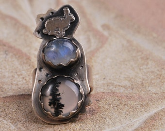 Sterling Silver Hare Rabbit Ring with moonstone and Dendritic Agate
