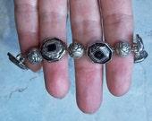Silvertone Antique-Look  Button and Bead Bracelet