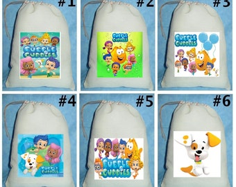 12 BUBBLE GUPPIES  Birthday Party Favor Candy Loot Treat Drawstring Bags