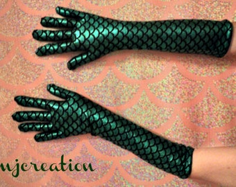 mermaid gloves fish scales gloves green made to order custom mjcreation