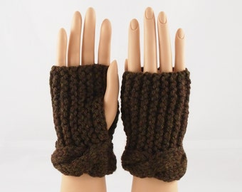 Hand Knit Wrist Warmers, Fingerless Gloves in Walnut 50% OFF Clearance Sale