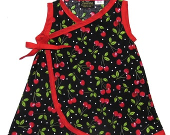 Retro Girls Dress - Rockabilly Dress - Cherry Dress - Girls Dress - Kimono Dress- Wrap Dress - Red Dress - Size - 4T - 5T - 6