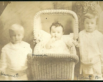 Vintage RPPC Real Photo Postcard Kenneth David And Robert Darling Children With Wicker Baby Buggy Antique Photograph Post Card