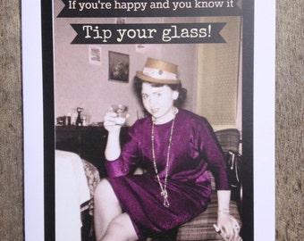 Greeting card #14, Vintage style birthday/retirement/celebration card