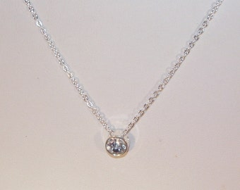 Silver & Crystal Bridal Jewelry - Silver and Crystal Solitaire Necklace - Sterling Silver Filled Chain