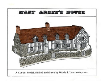Miniature Tudor House Model to Cut Out and Assemble Mary Arden's Farm Shakespeare's Mother Shakespeare Birthplace Trust Wilmcote Vintage