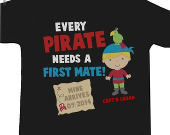 Pirate big brother shirt first mate pregnancy announcement DARK Tshirt