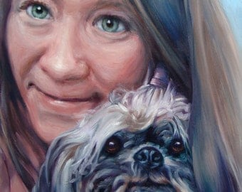 "Together Forever, custom Pet Portrait Oil Painting, 10x10"" (pet&person)"