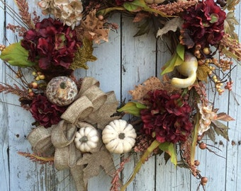 Fall Burgundy Pumpkin Wreath, Autumn Door Decor, Pumpkin Wreath for Fall