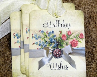 Birthday Wishes Floral Tags #596