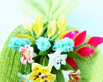 Miniature Polymer Clay Flowers Supplies Hyacinth and Lilies Bouquet 1 bunch